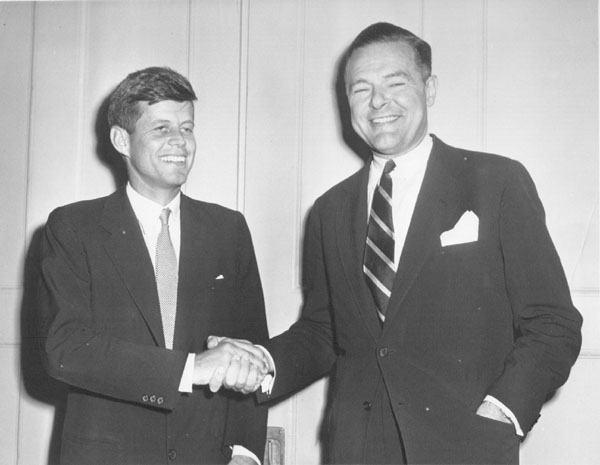 JFK shaking hands with Henry Cabot Lodge