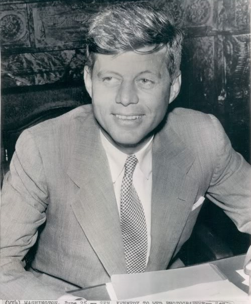 senator John F. Kennedy in office on his engagement day