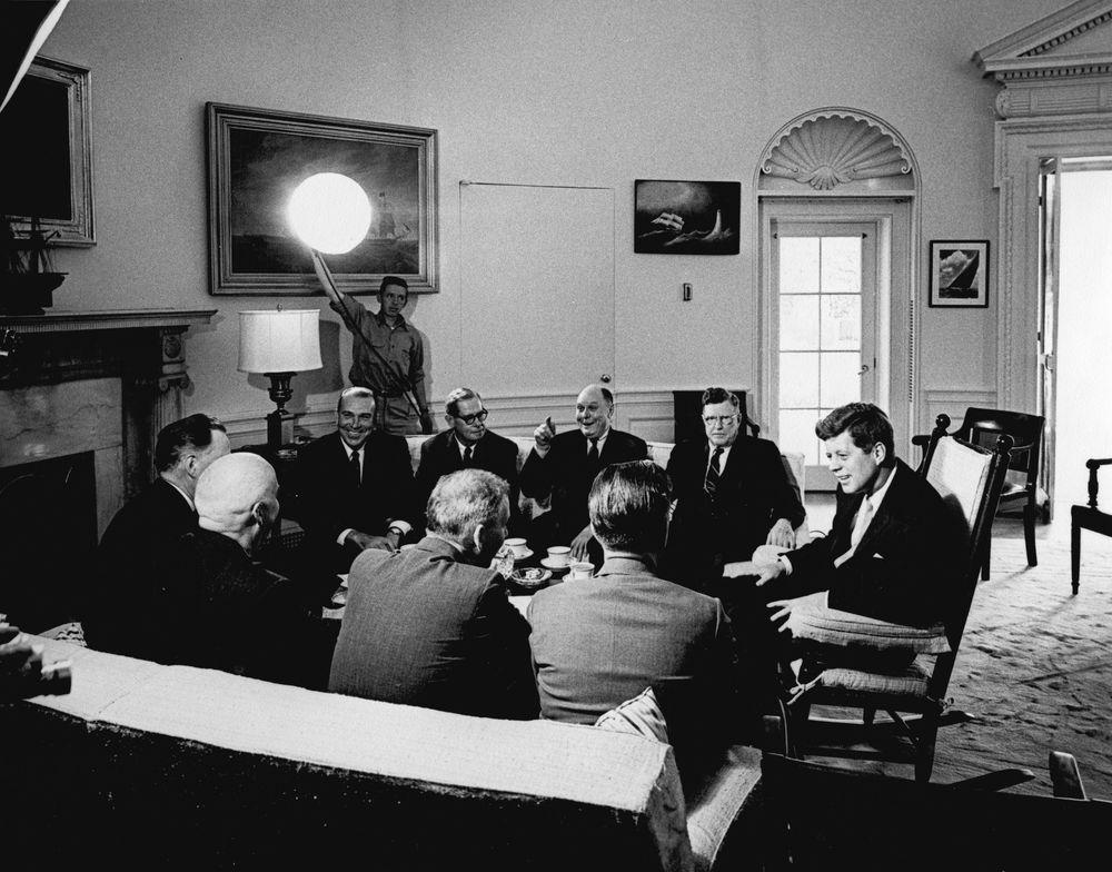 May 9, 1961 JFK newspapermen